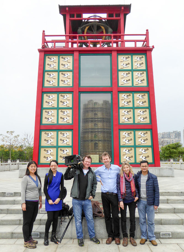 The crew in front of Su Songs astronomical clock tower (Source: Maya Vision International)