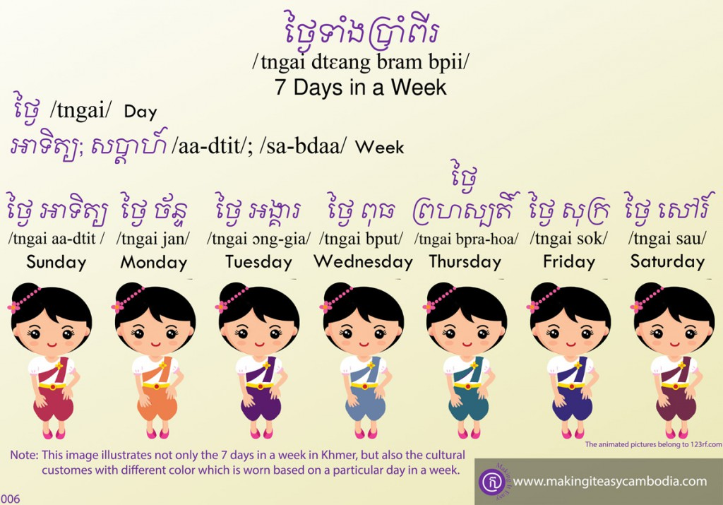 days of the week in Khmer