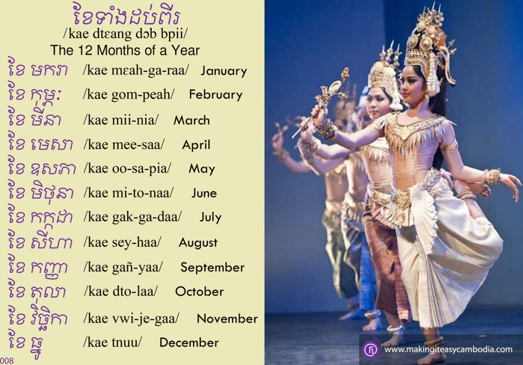months of the year in Khmer
