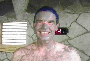 Charles from 'Don't worry just travel' enjoying a mud bath in Taiwan