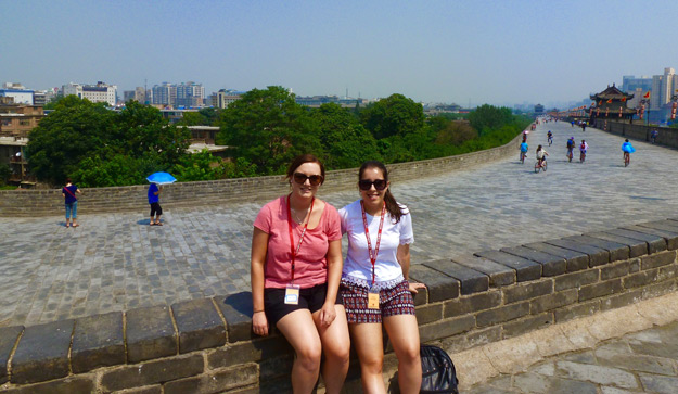 Daniela on her group tour on Xian's city walls