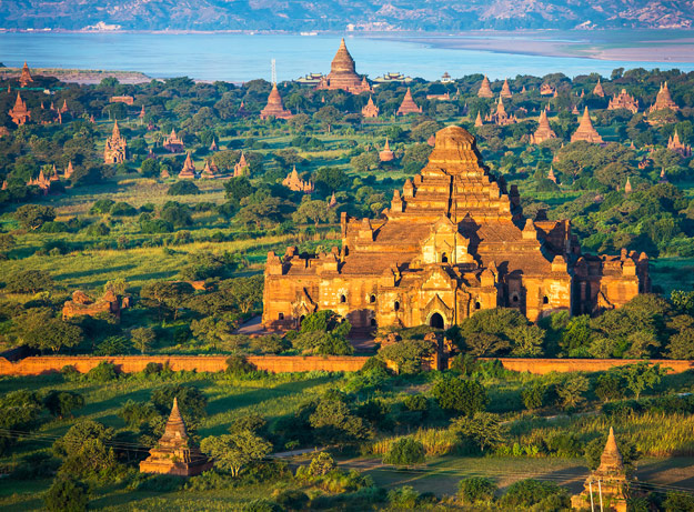 view of bagan from balloon