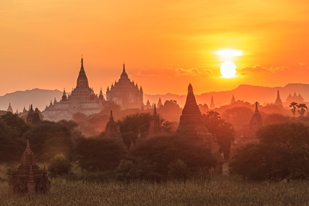 The Temples of Bagan, Burma at sunrise