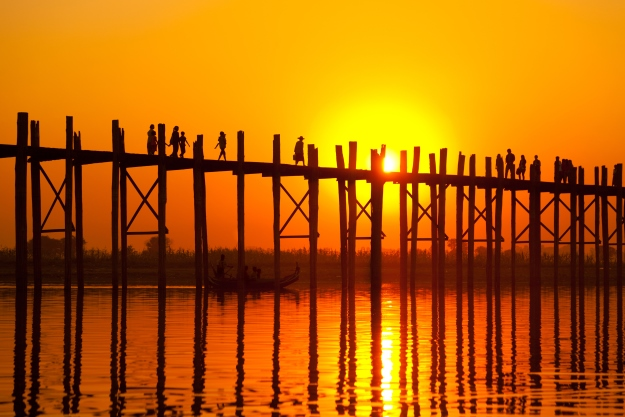 Sunset behind U Bein Bridge, Mandalay