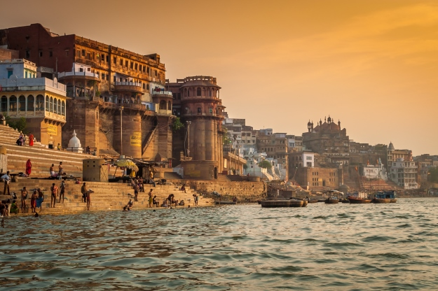 Varanasi's ghats at sunrise from the Ganges