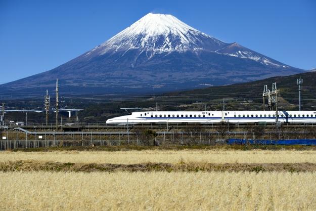 Bullet train in front of Mt Fuji