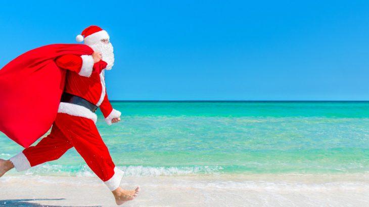 father christmas on the beach