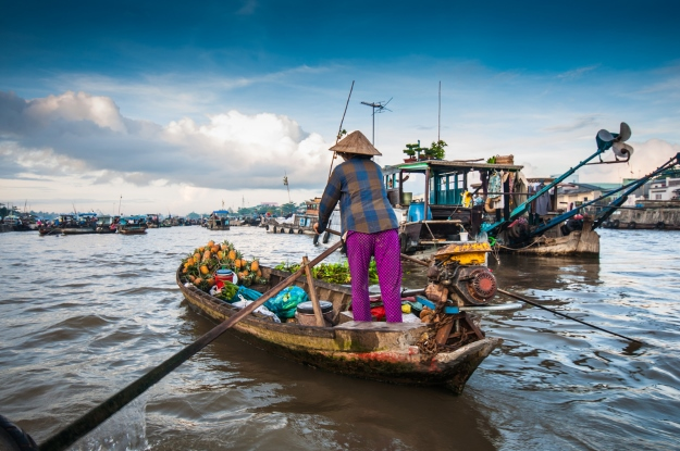 Floating markets in Can Tho Vietnam