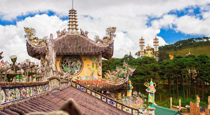 Rooftops of temples in Dalat Vietnam
