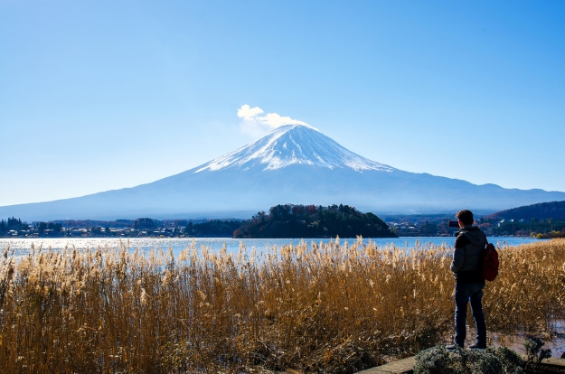 Traveller looking over to Mt Fuji.
