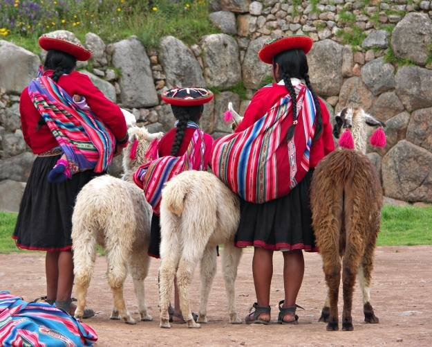 Ladies with llamas in Peru