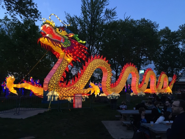 Colourful illuminated dragon for Chinese New Year