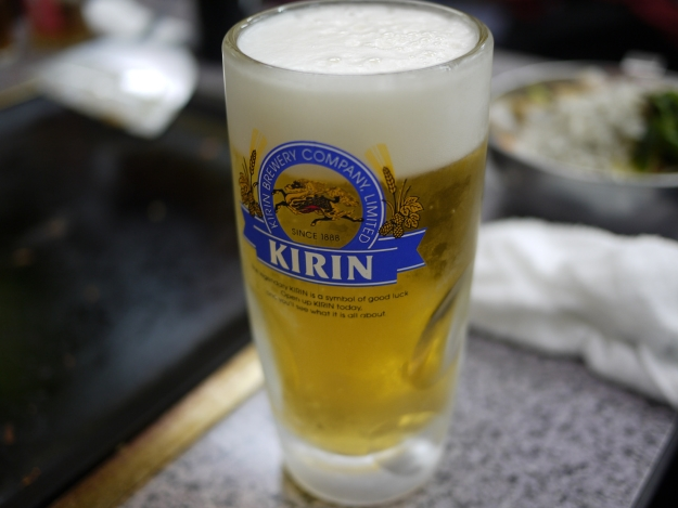 Glass of Kirin beer