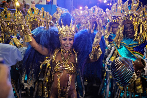 A samba dancer in full swing.