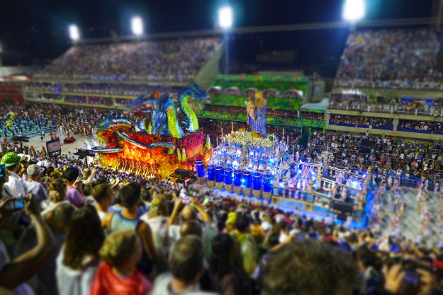 Samba Schools passing through the Sambadrome