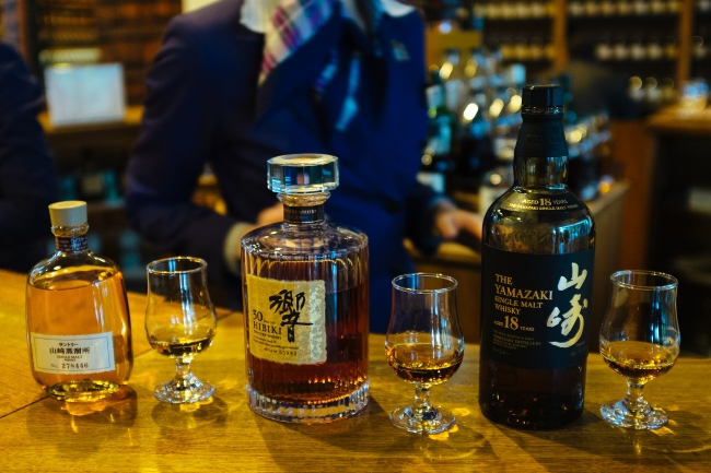 Bottles of whisky at Yamazaki Distillery