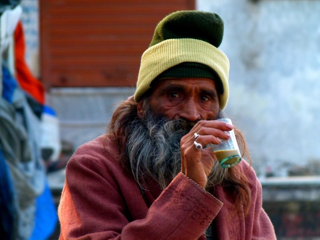 Man drinking tea in Rishikesh