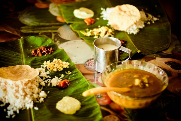 Vegetarian dishes served on banana leaf in Kerala