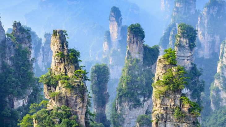 Towering pillars of Zhangjiajie National Forest Park China