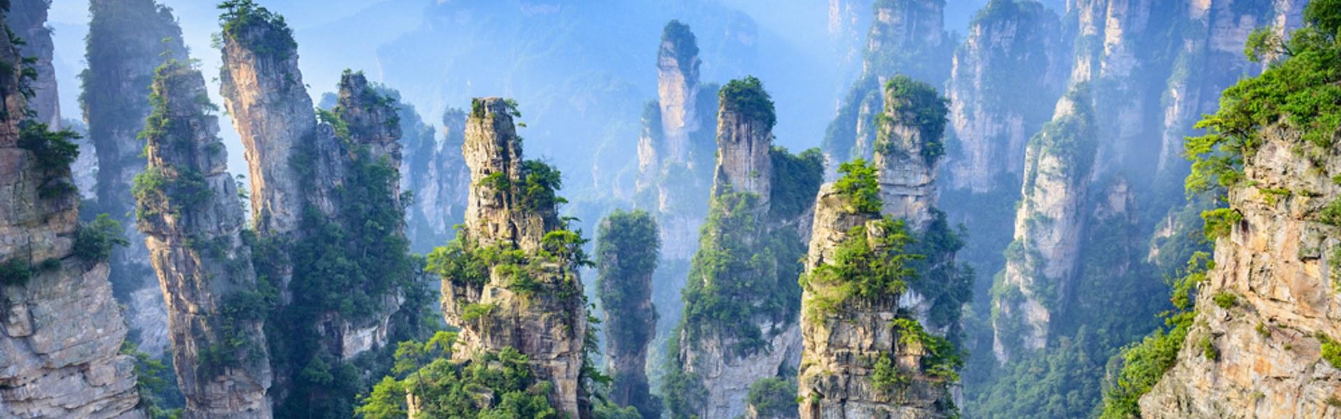 Towering pillars of Zhangjiajie National Forest Park China