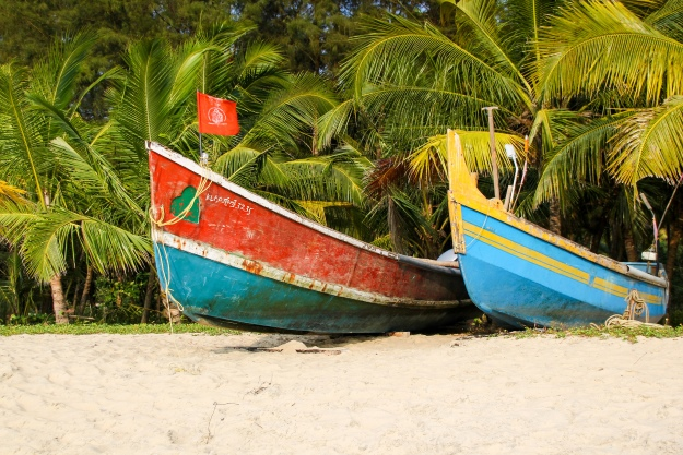 Boats on the beach Malabar Coast
