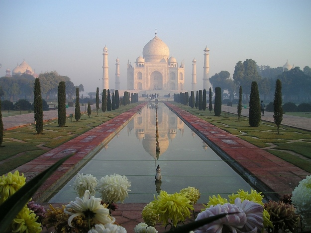 The Taj Mahal at dusk