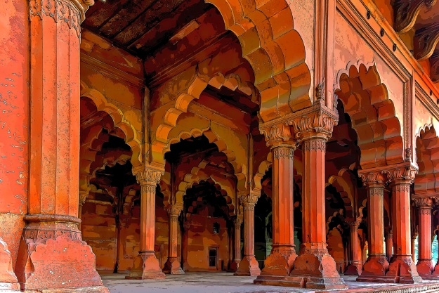 Sandstone walls of the Red Fort Delhi