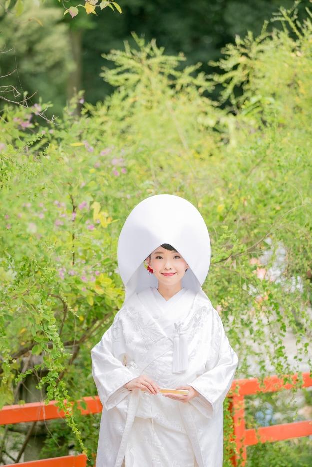 A Shinto bride in her white kimono