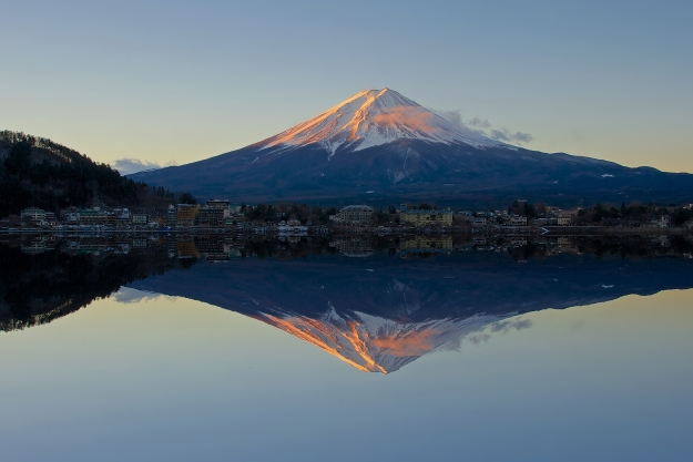Mt Fuji at sunrise reflected in a lake