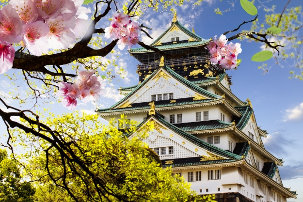 Osaka Castle during cherry blossom season