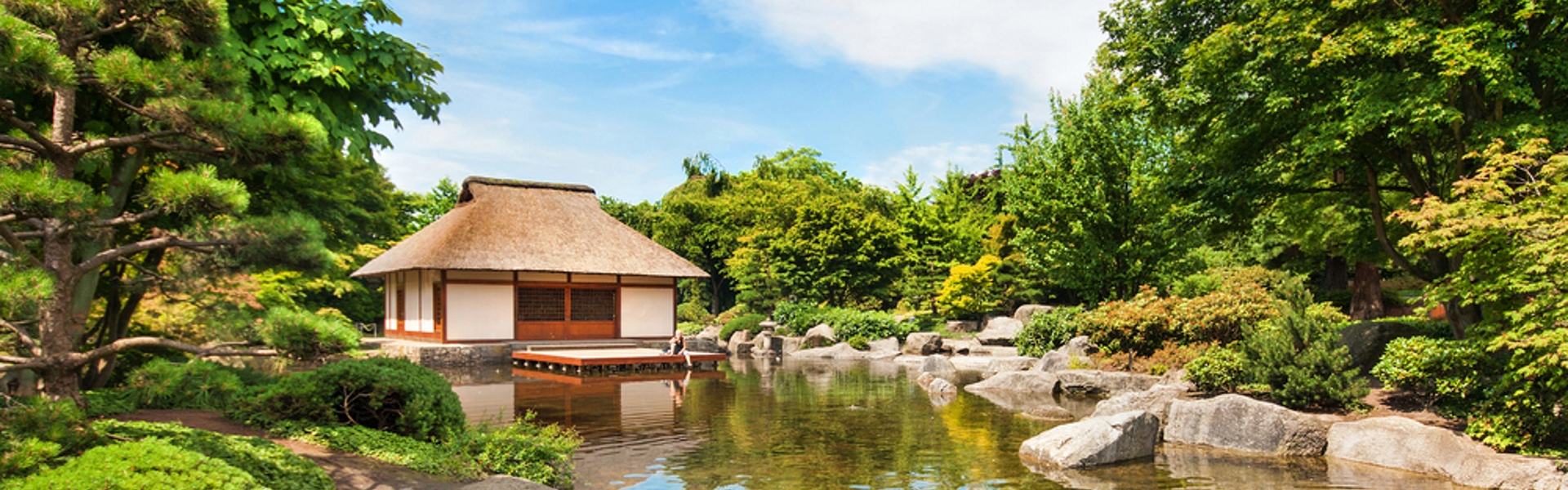 A traditional tea house on a pond, Kyoto