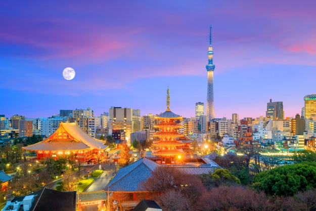 Tokyo skyline at dusk