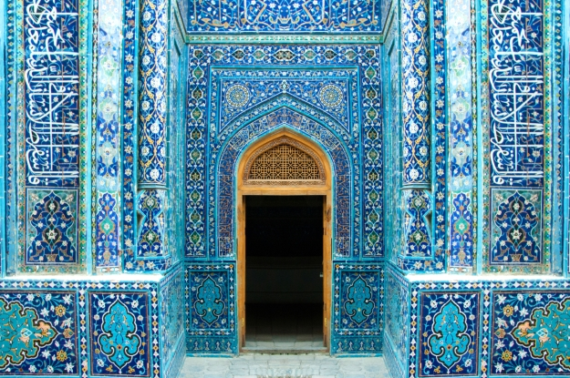 Beautiful blue mosaic doorway