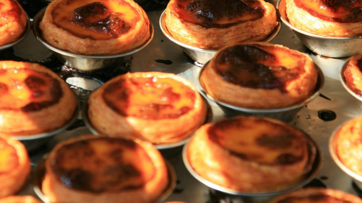 Tray of freshly baked egg tarts