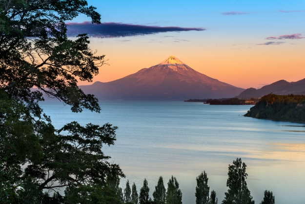 Osorno Volcano and lake at sunrise