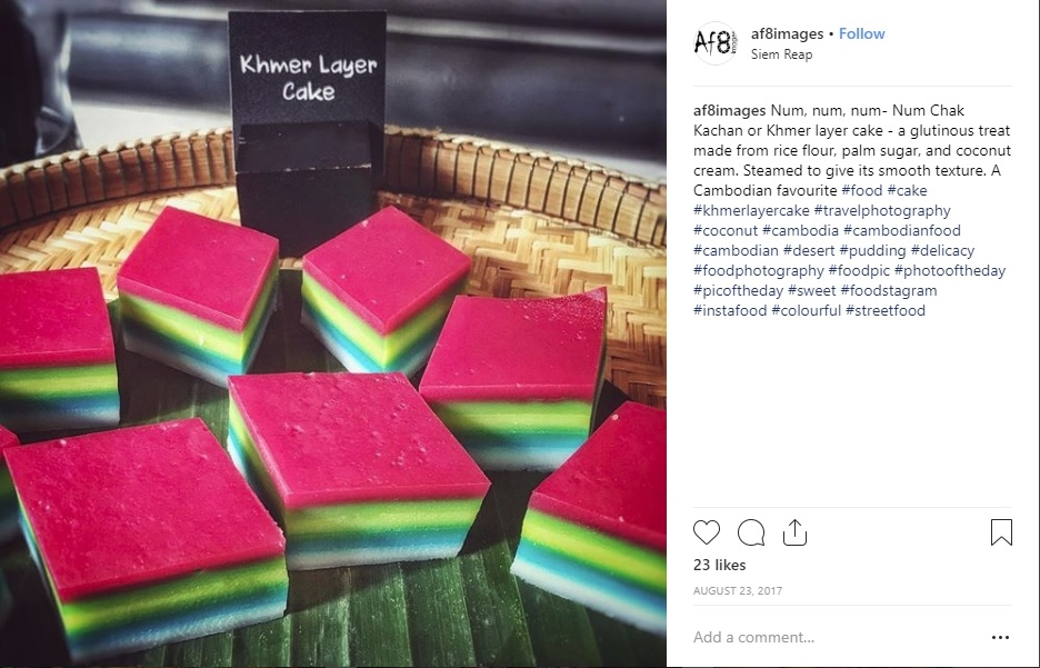 Colourful Khmer layer cake