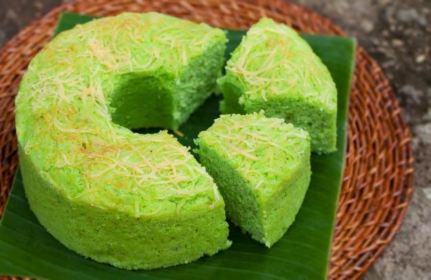 Slices of green pandan chiffon cake