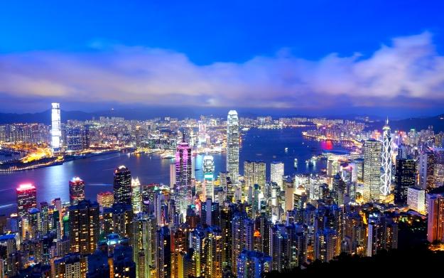 The bright lights of Hong Kong at twilight