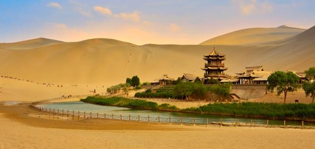 The Crescent Lake amongst the sand dunes of the desert