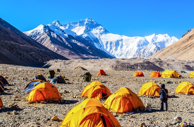 Views of Mt Everest from base camp