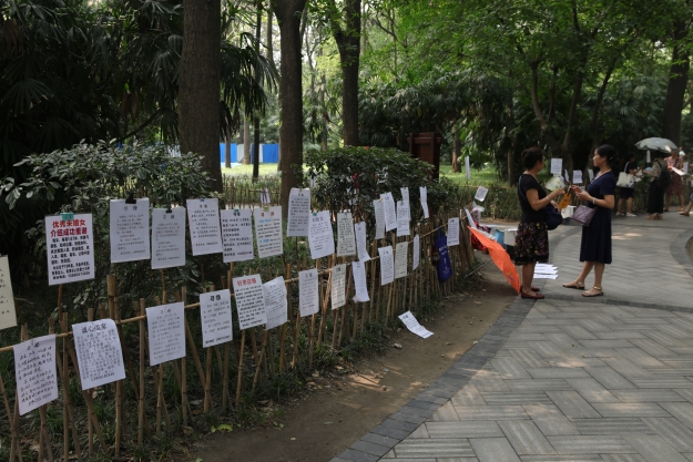 Matchmaker's Corner in a public park in China