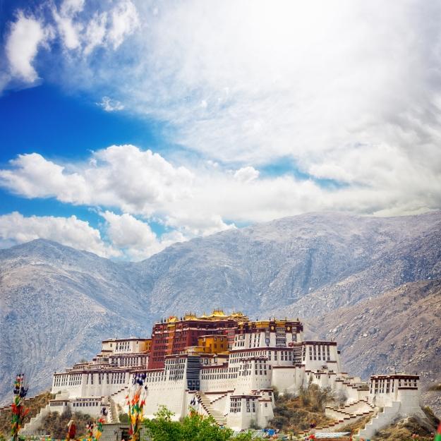 Potala Palace set against mountains