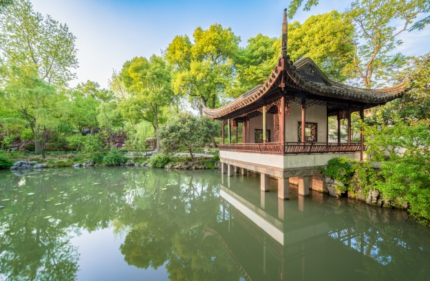 A peaceful moment in a traditional Chinese garden