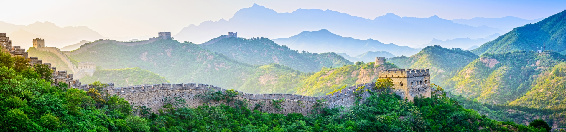 The Great Wall of China stretching off into a hazy distance