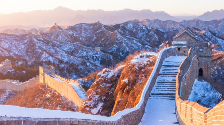 Snow covered Great Wall of China