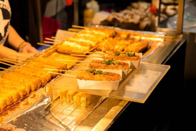 Stinky tofu on a street stall in Taipei