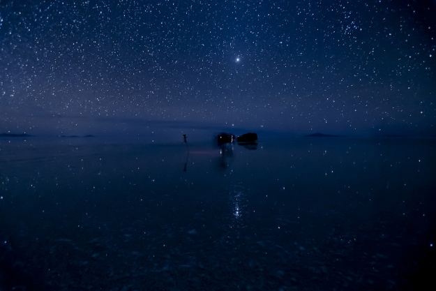 A starry sky reflected on the surface of the Uyuni Salt Flats