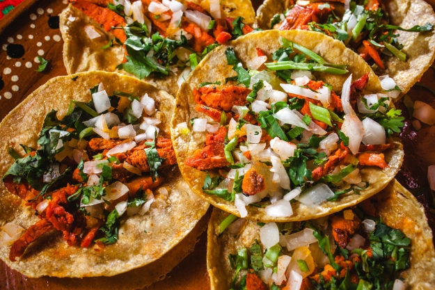 Close up shot of fresh Mexican street food