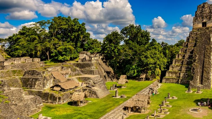 Views of the central plaza of the Mayan ruins of Tikal in Guatemala