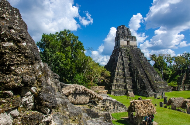 The main plaza at the heart of Tikal in the sunshine